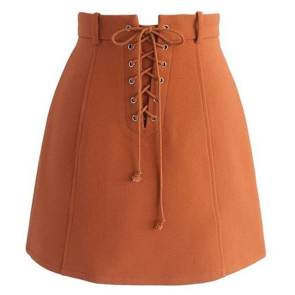 Chicwish Lace-up Era Bud Skirt in Orange ❤ liked on Polyvore featuring  skirts, mini skirts, bottoms, brown mini skirt, lace up front skirt,  chicwish skirt, ...