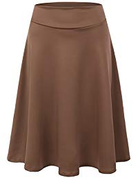 Womens High Waist Midi A-Line Skirt