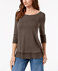 Style u0026 Co Chiffon-Hem Top, Created for Macy's