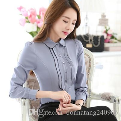 2019 Fashion Korean Style Business Office Shirts Contrast Patchwork Long  Sleeve Shirt Women Blouses Button Tops Blusa Feminina From Donnatang240965,  ...