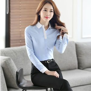 Image is loading New-Autumn-Formal-Business-Women-Shirts-Office-Uniform-