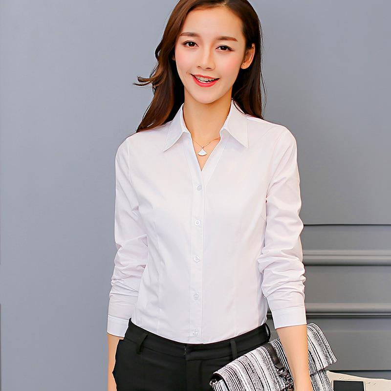 2019 2017 Women Party Club Blouses Fashion Long Sleeve Button Polyester  Lovely White Blouse Bright Pockets Shirt Work Business From Cosmos_fz, ...