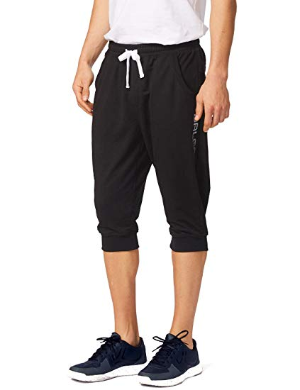 Baleaf Men's Performance Three-Quarter Jogger 3/4 Capri Pants Black Size XS