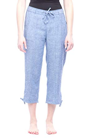 Missy Women's Linen Capri pants Blue Chambray S