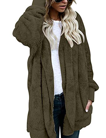 Womens Fuzzy Open Front Sherpa Hooded Cardigan Jacket Coat Outwear with  Pocket Army Green S at Amazon Women's Clothing store: