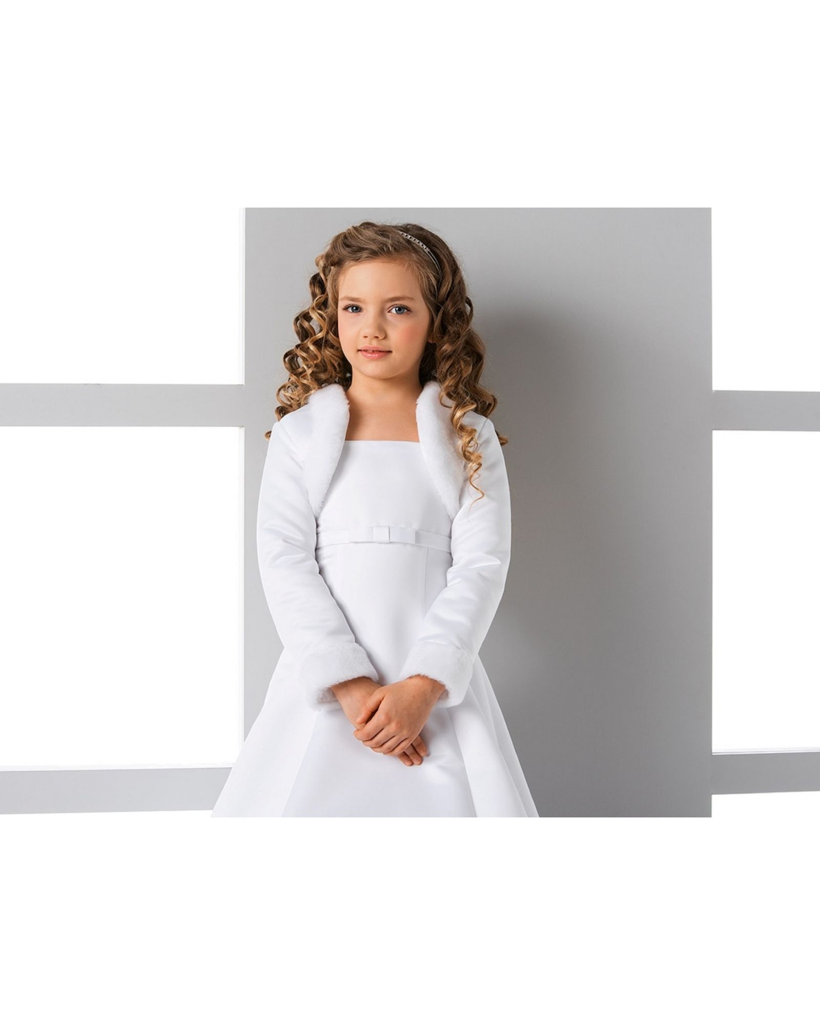 children's flower girl u0026 communion faux fur bolero with satin