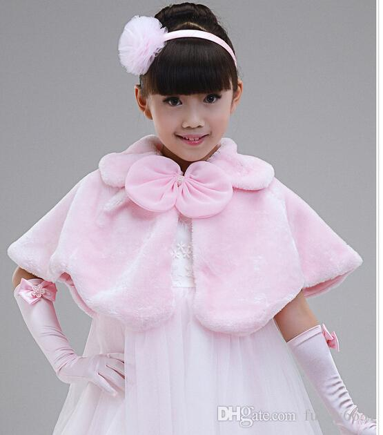 MOQu003dChildren Dress Accessories Princess Fur Boleros Flower Shawls Children'S  Poncho Girl Cape Kid Clothing Pink Kids Winter Poncho Boys Rain Poncho From  ...