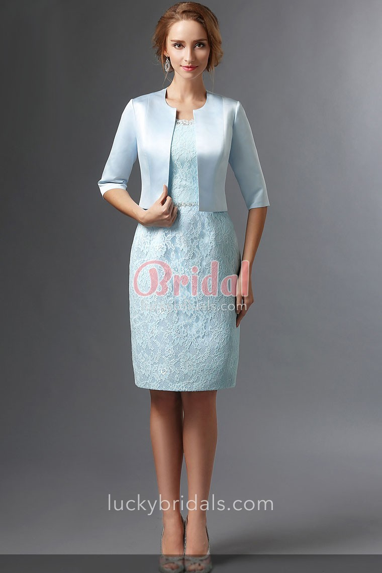 vintage knee length sky blue lace mother of the bride dress with satin  bolero jacket