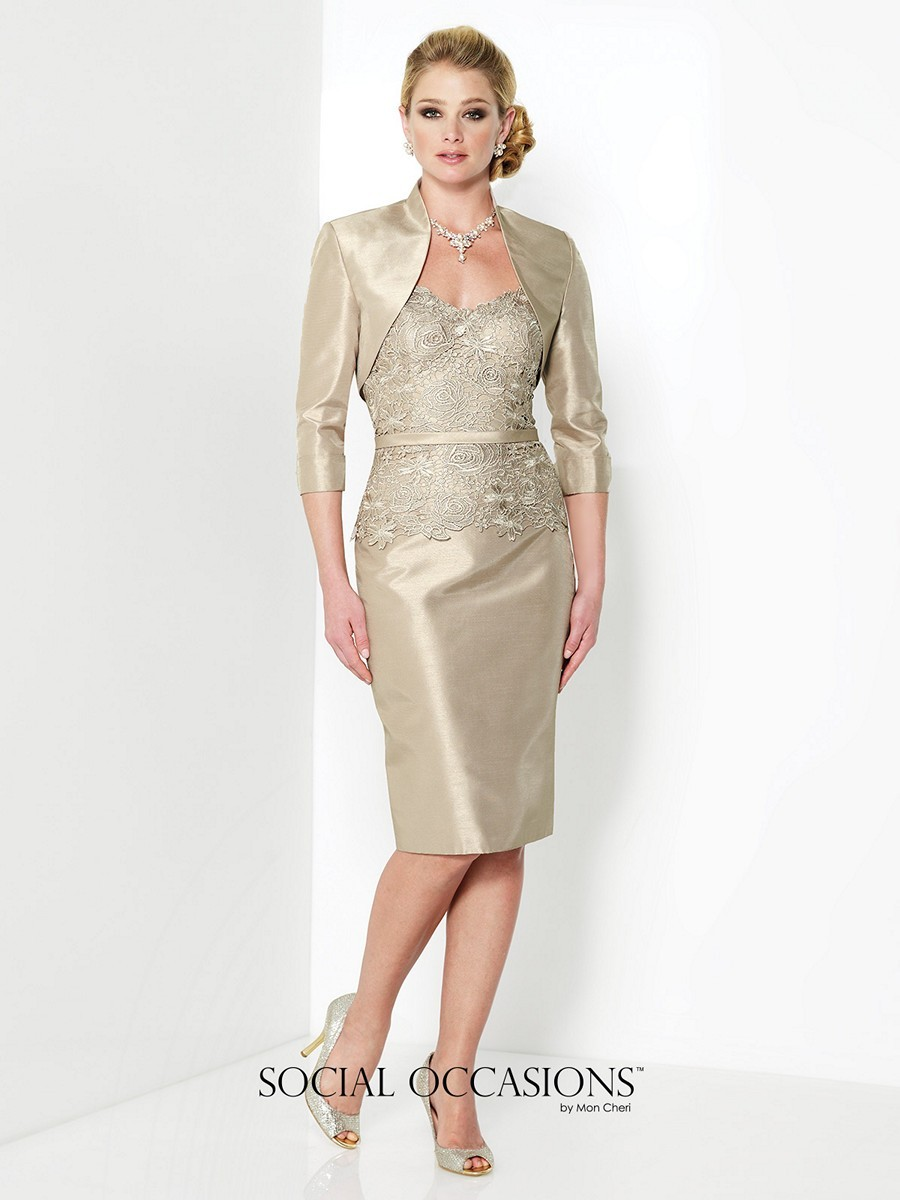 Social Occasions 215807 Dress Shantung Lace Two-Piece Bolero Jacket Pencil  Skirt