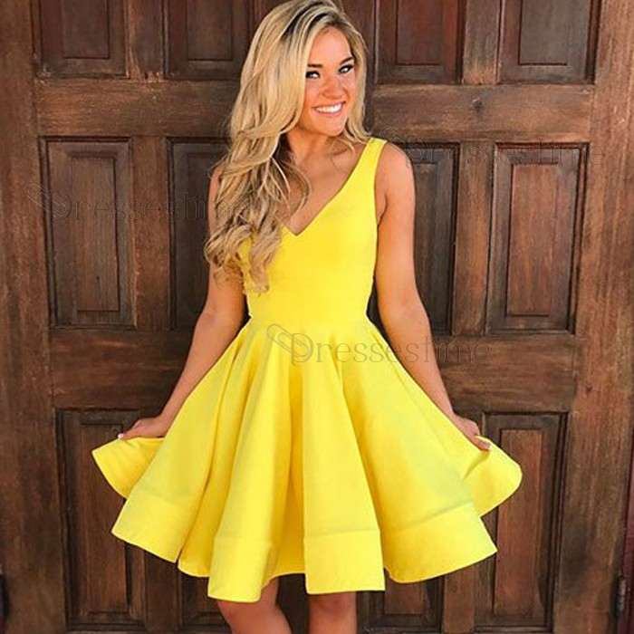 A-Line V-Neck Yellow Satin Short Homecoming Dress with Pleats