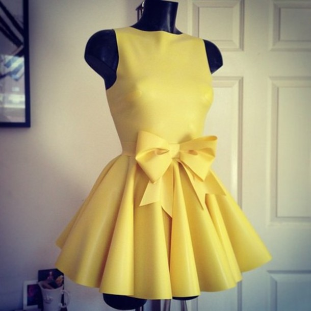 dress yellow cute dress yellow dress cute lemon pastel mini dress party  prom brand ribbon dress