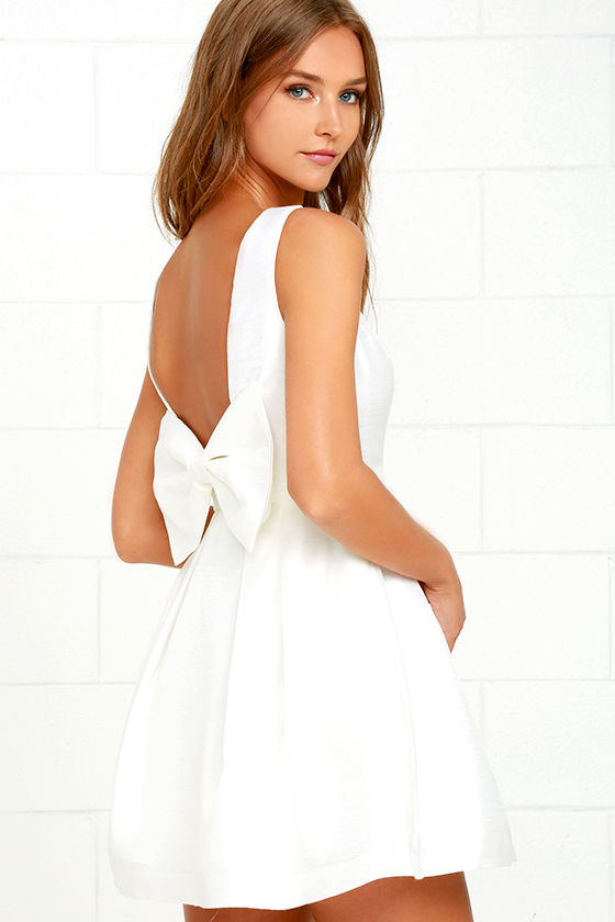 Bow Me a Kiss Ivory Backless Dress
