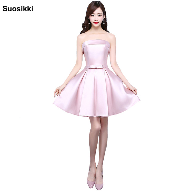 2017 New Pink Short Prom Dresses Light Pink Cocktail Dresses Bow Elegant  formal Party mini dresses