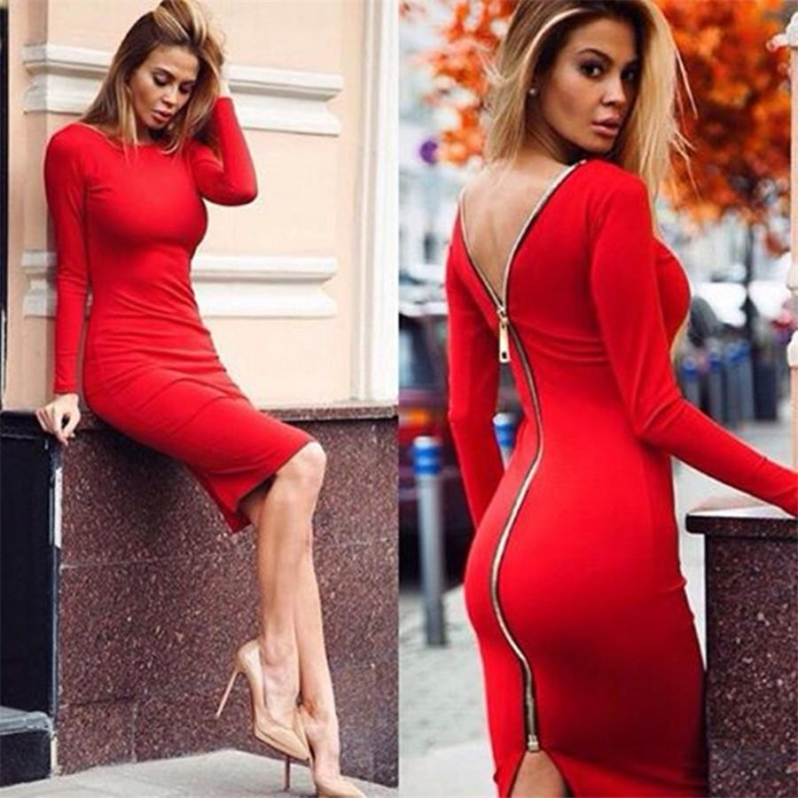 Newest Sexy Zipper Back Sheath Red Charming Women Dresses 2016 Hot Sale  Long Sleeve Elastic Backless Sheath Knee Length Lady Party Dresses Party  Dresses For ...
