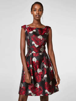 Esprit ESPRIT Women Black u0026 Maroon Printed Fit u0026 Flare Dress