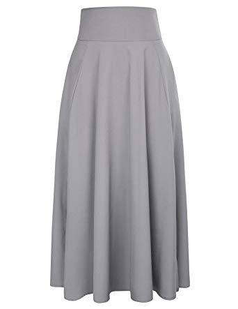 Belle Poque A-Line Midi Skirt Grey Elegant Flared Long Skirt High Waist  Size S