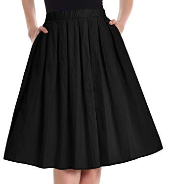 Yige Women's Vintage A-line Printed Pleated Flared Skirts for Women Black-XS