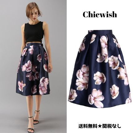 ... Chicwish Midi Flared Skirts Flower Patterns Medium Midi Midi Skirts ...