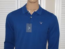 GANT Authentic The Original Pique L/S Rugger Polo Shirt Yale Blue NWT