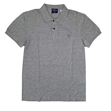 GANT Menu0027s Fitted Polo Shirt USA Logo (M, Gray)