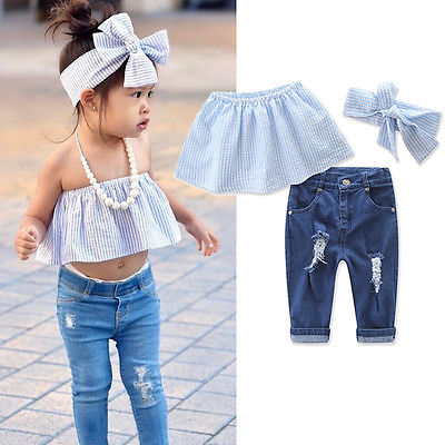 Newbaby Hot Newest 2017 Toddler Baby Girls Kids Jeans Summer Casual  Tops+Ripped Denim Pants +Headband Outfits Cute Set Age 1 7Y-in Clothing  Sets from Mother ...