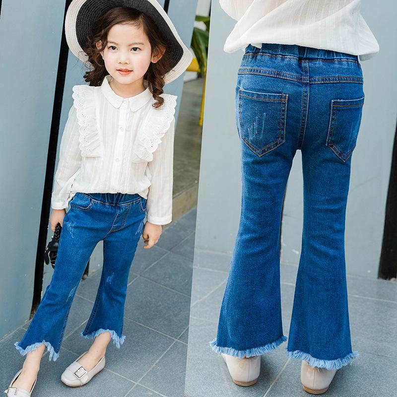 New Fashion Girls Jeans Children Blue Denim Bell Bottoms Tassels Worn Jeans  Cute Top Quality Kids Clothes Jean Jackets For Kids Girls White Skinny Jeans  ...
