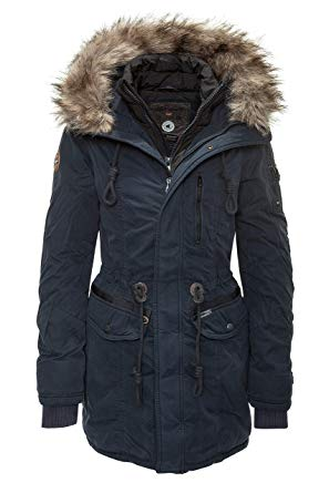 Khujo Women's Parka Jacket Black Black Small - Blue - UK 18