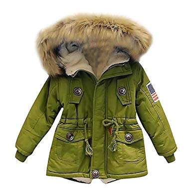 Kids Boys Hooded Faux Fur Collar Coat Warm Parka Jacket Outerwear (2T, Army  Green