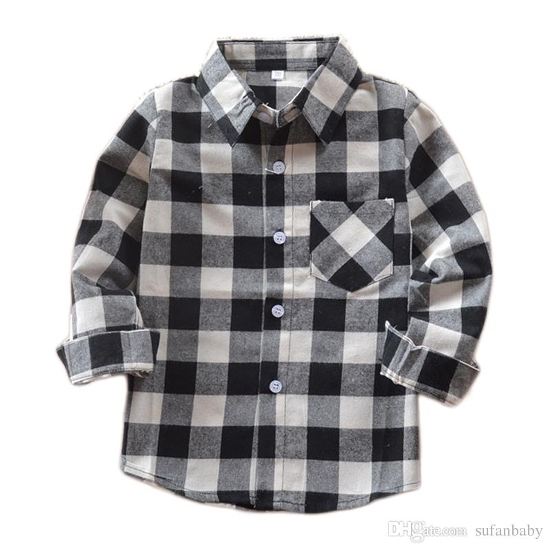 Spring 2018 Kids Boys Shirts Children Tops 100% Cotton Long Sleeve Toddler Boy  Shirts Black White Plaid Turn Down Collar Shirt Custom Toddler Shirts Kids  ...