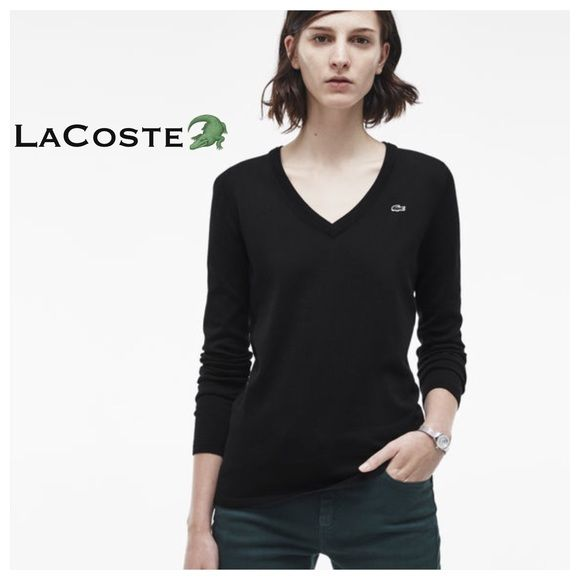 LACOSTE Vneck Womenu0027s Sweater This is a preloved LACOSTE womenu0027s black  vneck fitted sweater. Size is 38 which would be a medium. No rips, no  stains.