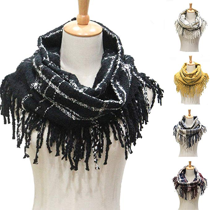 Winter Women Warm Plaid Infinity Scarf,Fashion Ladies Tassel Thick Loop  Scarves for Gift (