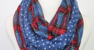 Women/Ladies Dotted And Plaid Check Infinity Shawls Scarf Snood Loop Scarves  Around Scarfs Navy /Red/Beige/Green Orange Blue Color Summer Scarves Scarf  Ring ...