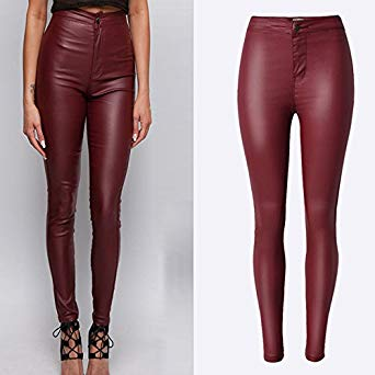 BlingNicer Cozy;Fashion Biker Faux Leather Pants Women New High Waist Slim  PU Trousers Fashion