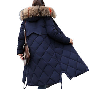 Image is loading Winter-Women-long-Down-Cotton-Parka-Fur-Collar-