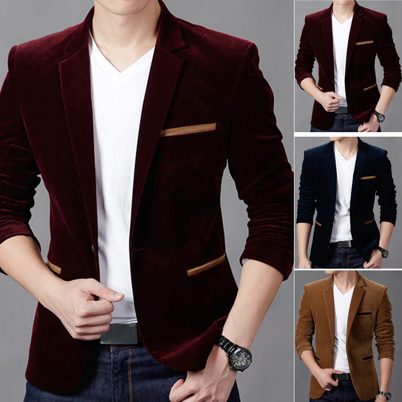 Mens Business Casual Formal Jacket Coat Slim Fit Suit Blazer Jacket Outwear  Tops | eBay