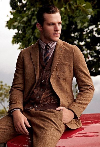 Latest Coat Pant Designs Brown Tweed Suits Men Skinny Classic Outfit Custom Winter  Modern Men Tuxedo 2 Piece Terno Masculino F31