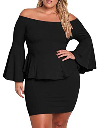 Yskkt Womens Plus Size Peplum Dresses Off The Shoulder Bell Sleeve Ruched  Sexy Mini Party Dress