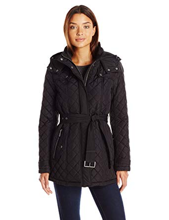 Tommy Hilfiger Women's Quilted Jacket with Tie Waist and Removable Hood,  Black, ...