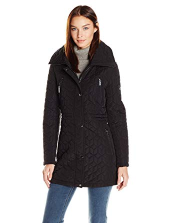 Calvin Klein Women's Quilt Jacket with Faux Fur at Amazon Women's Coats Shop