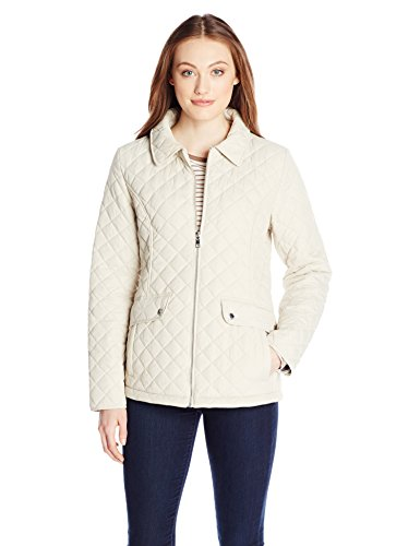 Tommy Hilfiger Women's Zip Front Quilted Jacket, Sand, X-Small at Amazon  Women's Clothing store: