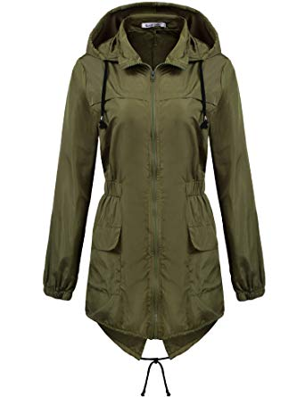 Macr and Steve Womens Lightweight Hooded Waterproof Active Outdoor Rain  Jacket Army Green Small