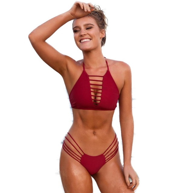 Sexy Push Up Bikinis Set Hollow Out Thong swimwear Red Bandage Brazilian  swimsuit Female Sport Bathing