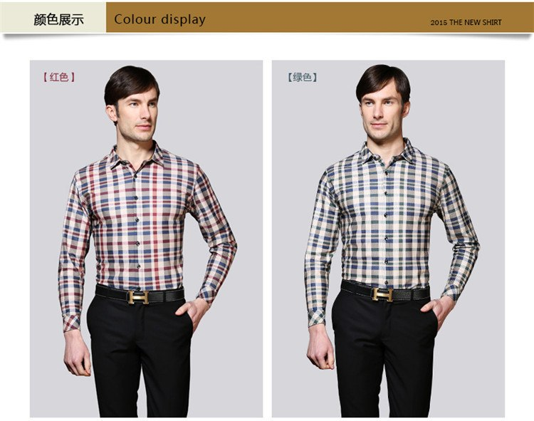 Mens long sleeve plaid shirts slim fit summer style social dress