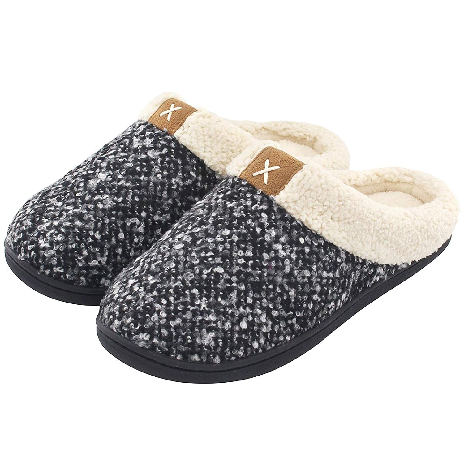 Women's Cozy Memory Foam Slippers Fuzzy Wool-Like Plush Fleece Lined House  Shoes w/