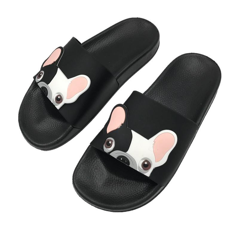 2018 Summer Slippers Women Cartoon Bulldog Flip Flops Shoes Woman Indoor  House Bathroom Home Slippers Non Slip Beach Dog Slides DH977 Booties Mens  Boots ...