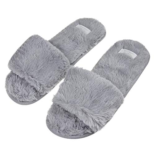 Holiberty Fashion Indoor Warm Fleece Slide On Slippers, Womens Ladies Girls  Spa Flip Flop Furry