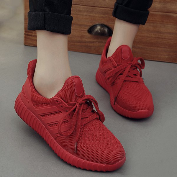 Wholesale Casual Mesh And Solid Color Design Sneakers For Women In Red 37 |  TrendsGal.com