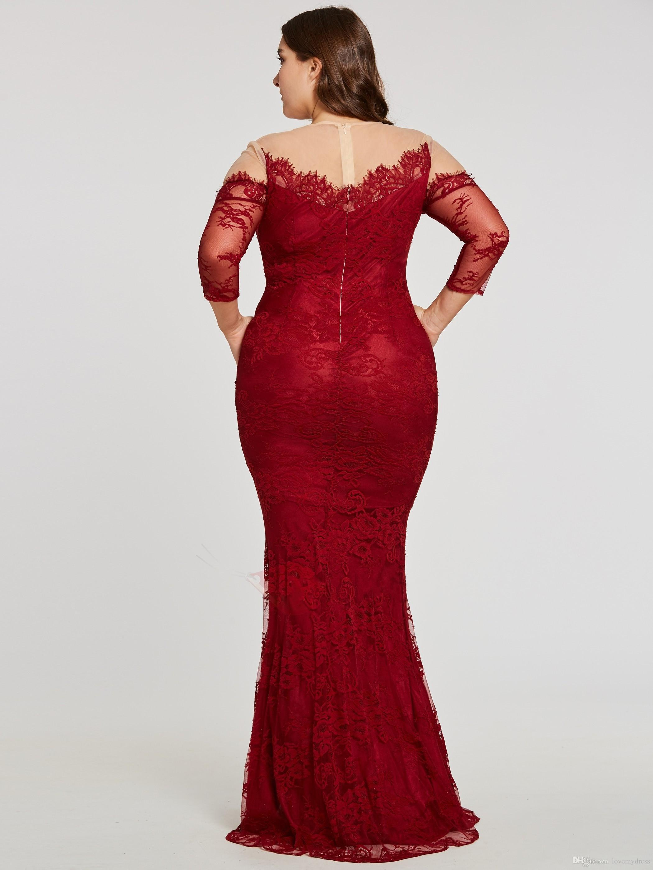 Wine Red Plus size Special Occasion Dresses For Women Illusion Lace Sleeves  Sheer Neck 2018 Hollow ...