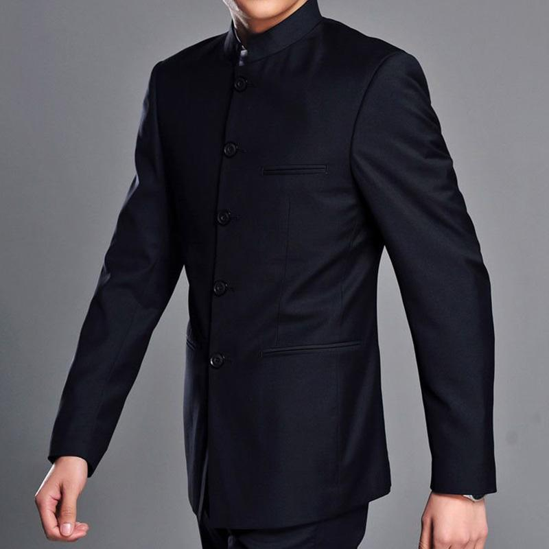 2019 Mandarin Collar Suit Jacket For Men Traditional Chinese Style Single  Breasted Tunic Suit Jackets Solid Color Navy Blue / Grey From Houmian, ...