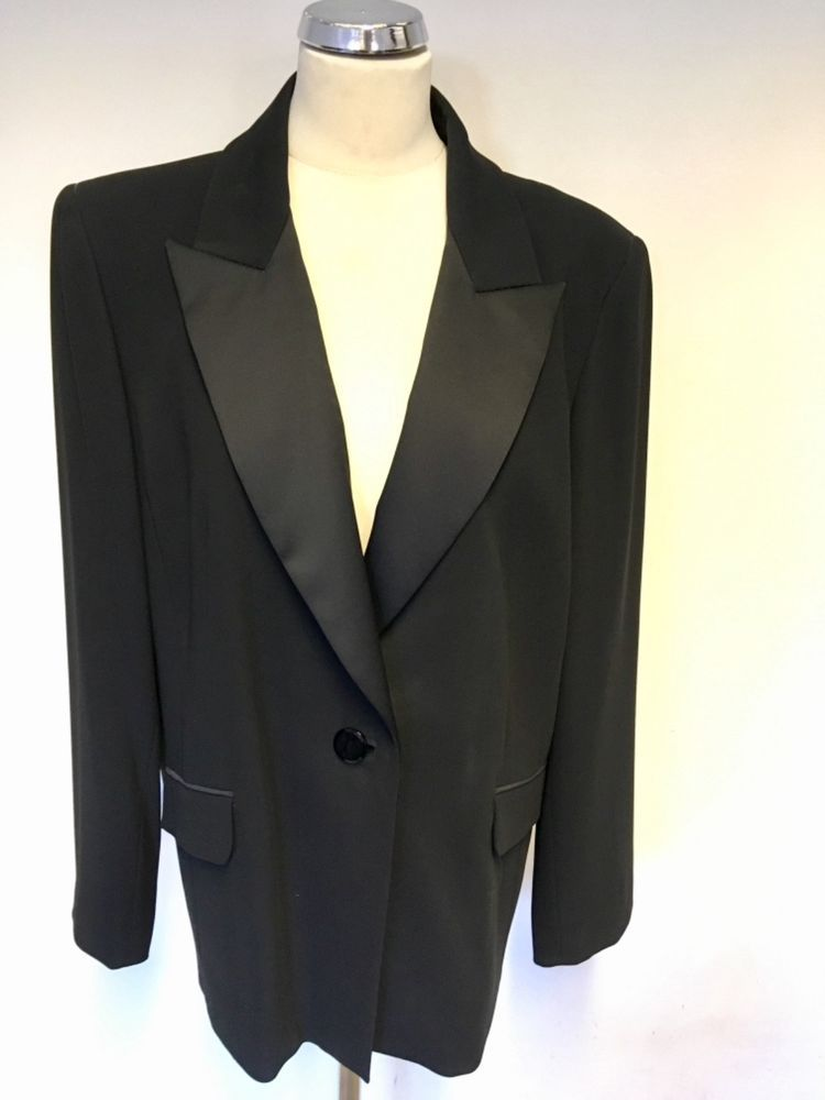 MARINA RINALDI BLACK SATIN COLLAR SPECIAL OCCASION/EVENING JACKET SIZE 25  UK 20 #fashion #clothing #shoes #accessories #womensclothing  #suitssuitseparates